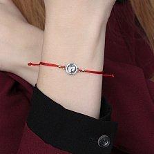 Шелковый браслет со вставкой Стопы