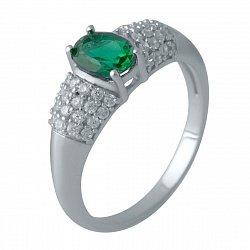 Серебряное кольцо с синтезированным изумрудом и фианитами