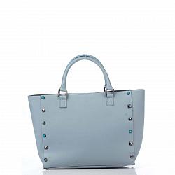 Кожаная сумка на каждый день Genuine Leather 8676 голубого цвета с декоративными заклепками