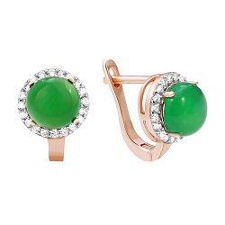 Позолоченные серебряные серьги с зеленым агатом и цирконием 000035353