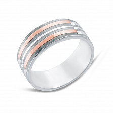 Серебряное кольцо Торжество с золотыми вставками