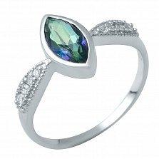 Серебряное кольцо Юнона с мистик топазом и фианитами