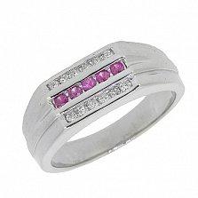 Серебряный перстень с бриллиантами и рубинами Найк