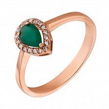 Золотое кольцо Инесса с зеленым ониксом и цирконием