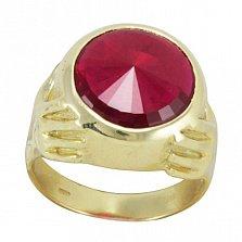 Золотой перстень Всевидящее око с шинкой-руками и рубином