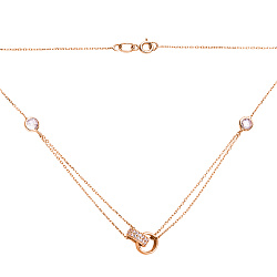 Золотое колье Кольцо в кольце с подвесными колечками и фианитами
