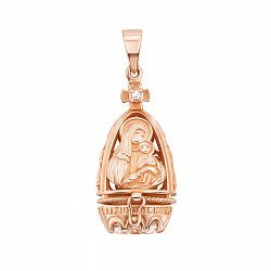 Ладанка-мощевик из красного золота Богородица с фианитами  000134534