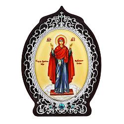 Серебряная икона с голубыми фианитами Божья Матерь Нерушимая стена 000004155