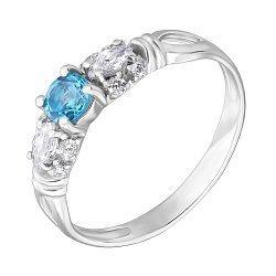 Серебряное кольцо с топазом swiss blue и фианитами 000140556