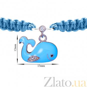 Детский плетеный браслет Рыба Кит с эмалью и фианитами 13-12см 000080606