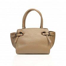 Кожаная деловая сумка Genuine Leather 6513 цвета тауп на молнии, с металлическими ножками