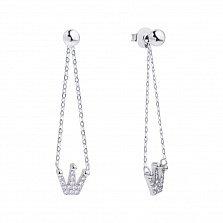 Серебряные пуссеты-подвески Королева с коронами в фианитах
