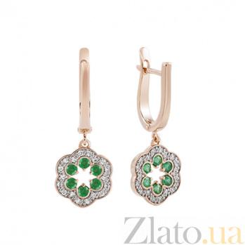 Золотые серьги-подвески с изумрудами и бриллиантами Аделия KBL--С2463/крас/изум