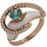 Золотое кольцо Роксана с кварцем, фианитами и эмалью