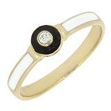 Золотое кольцо Бласт с бриллиантом и эмалью