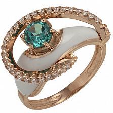 Золотое кольцо Роксана с зеленым кварцем, фианитами и эмалью