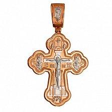 Золотой крестик с белым родированием Исцеление