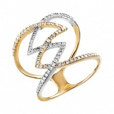 Золотое кольцо Яркая молния с бриллиантами