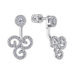 Серебряные серьги-джекеты с фианитами 000148298