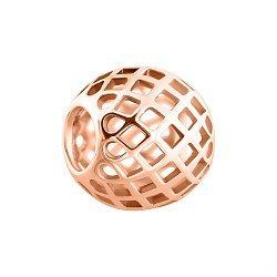 Золотой кулон Сеточка в красном цвете в форме шара с квадратными прорезями
