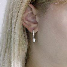 Серебряные серьги-подвески Стальная леди в минималистичном стиле