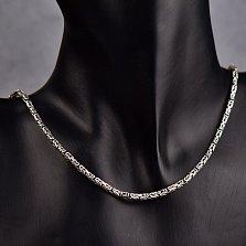 Серебряная цепь Визавио в плетении лисий хвост, 3х3мм