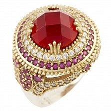 Кольцо из серебра и бронзы Стефани с рубином и фианитами