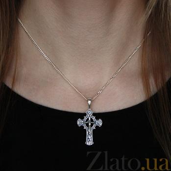 Серебряный крест чернёный  Иисус из Назарета HUF--3402-Ч