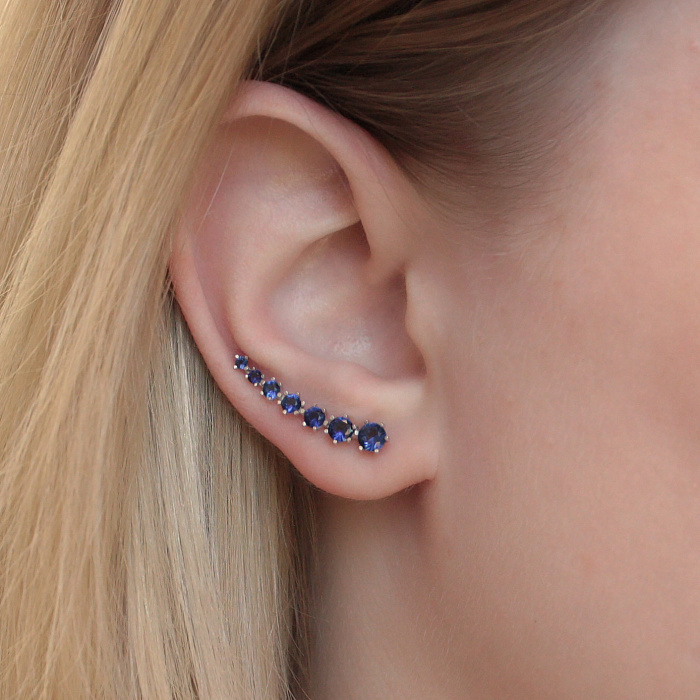 Серебряные серьги-каффы Пелагея с синим цирконием 000078658