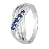 Серебряное кольцо с синим цирконием Сояла