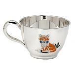 Серебряная чашка Рыжий кот с эмалью