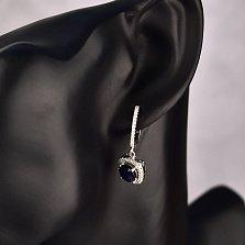 Серебряные серьги-подвески Шарлот с сапфиром и фианитами