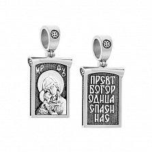 Ладанка серебряная Владимирская Божья матерь с чернением