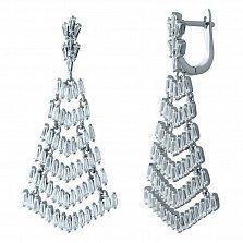 Серебряные серьги-подвески Царевна с фианитами