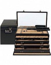 Черная кожаная шкатулка для украшений с выдвижными ящиками и зеркалом в крышке