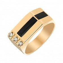 Золотое кольцо-печатка Карн с эмалью и фианитами
