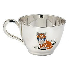 Серебряная чашка Рыжий кот с эмалью 000043520