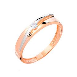 Золотое кольцо с фианитом Счастливая судьба