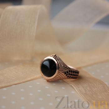 Золотой перстень Арктур с чёрным ониксом и чёрными фианитами 000066316