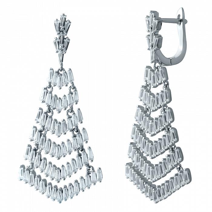 Серебряные серьги-подвески Царевна с фианитами 000068809