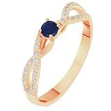 Кольцо в красном золоте Катерина с сапфиром и бриллиантами