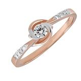 Кольцо из красного и белого золота Водоворот любви с бриллиантами