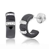 Черные керамические серьги с серебром и фианитами Vogue