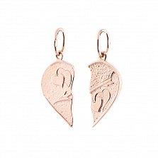 Две подвески из золота Половинки сердца