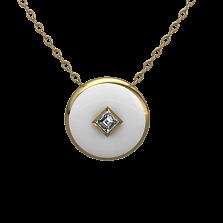 Золотой кулон Соломия с бриллиантом и белой эмалью
