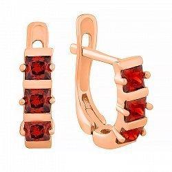 Позолоченные сережки из серебра с красным цирконием Братислава 000029022