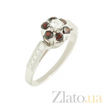 Золотое кольцо с гранатами и бриллиантами Ярослава К171:ЭД-КД7432/1гранат