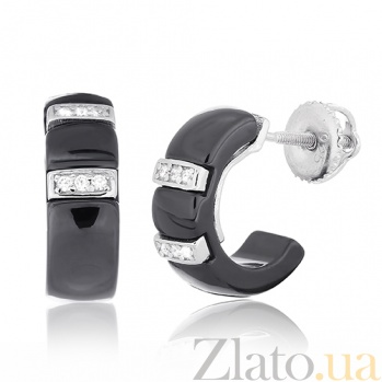 Черные керамические серьги с серебром и фианитами Vogue SLX--С2ФК/1002