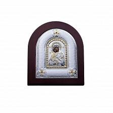 Серебряная икона Владимирская с позолотой и фианитами