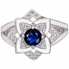 Золотое помолвочное кольцо Лотос с сапфиром и бриллиантами